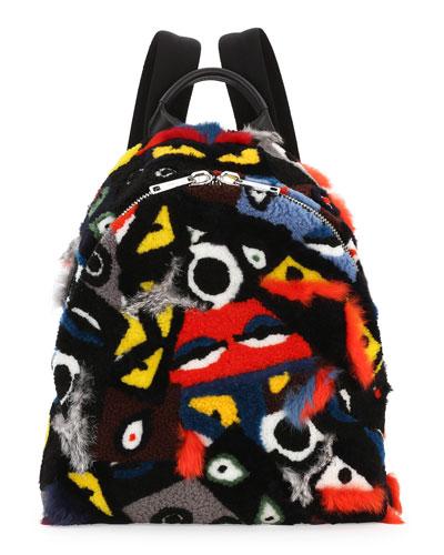 Shearling & Fur Patchwork Monster Backpack, Multi Colors