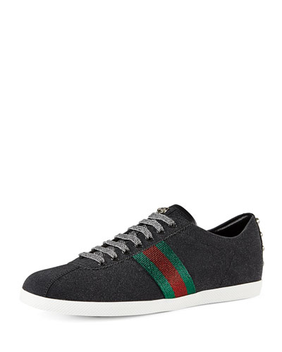 Bambi Web Low-Top Sneaker with Stud Detail, Black