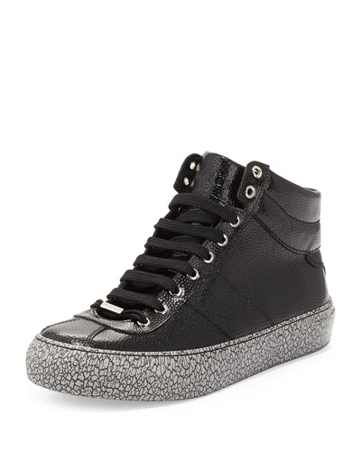 Belgravia Men's Leather High-Top Sneaker with Crackle Sole, Black