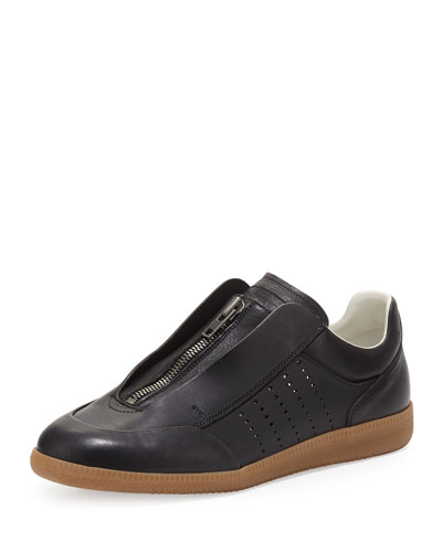 Circuit Perforated Leather Low-Top Sneaker, Black