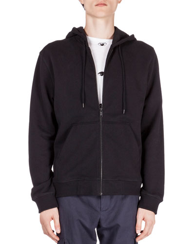 Zip-Up Hoodie with Embroidered Tiger Icon, Black