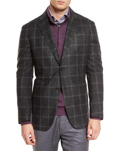 Windowpane Two-Button Silk Blazer, Dark Gray