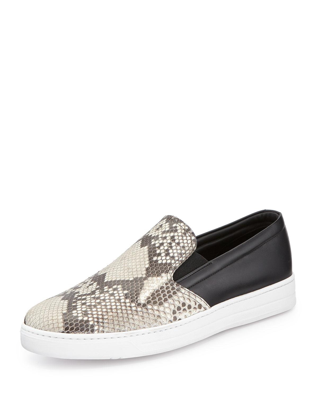 Python Leather Slip-On Sneaker, Brown