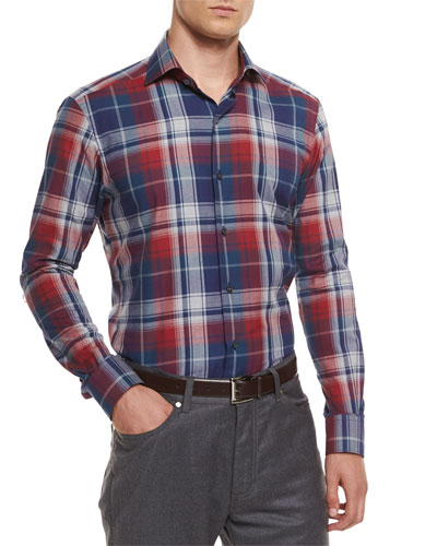 Extra-Large Plaid Sport Shirt, Red