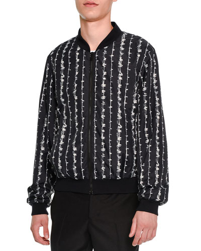 Barbed-Wire Print Bomber Jacket, Black/White