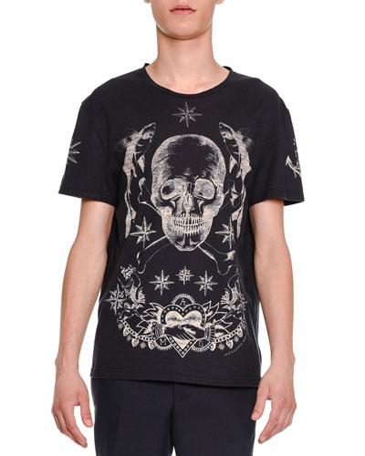 Skull & Star Graphic Short-Sleeve T-Shirt, Navy