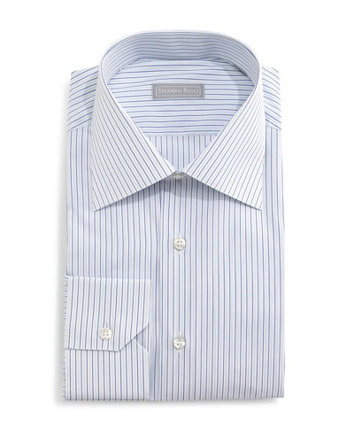 Fancy-Striped Dress Shirt, Blue