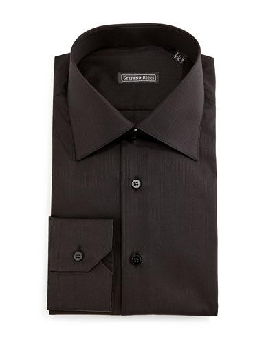 Solid Button-Down Dress Shirt, Black