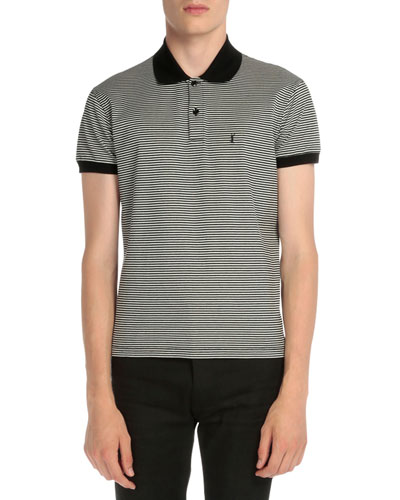 Striped Monogram Pique Polo Shirt