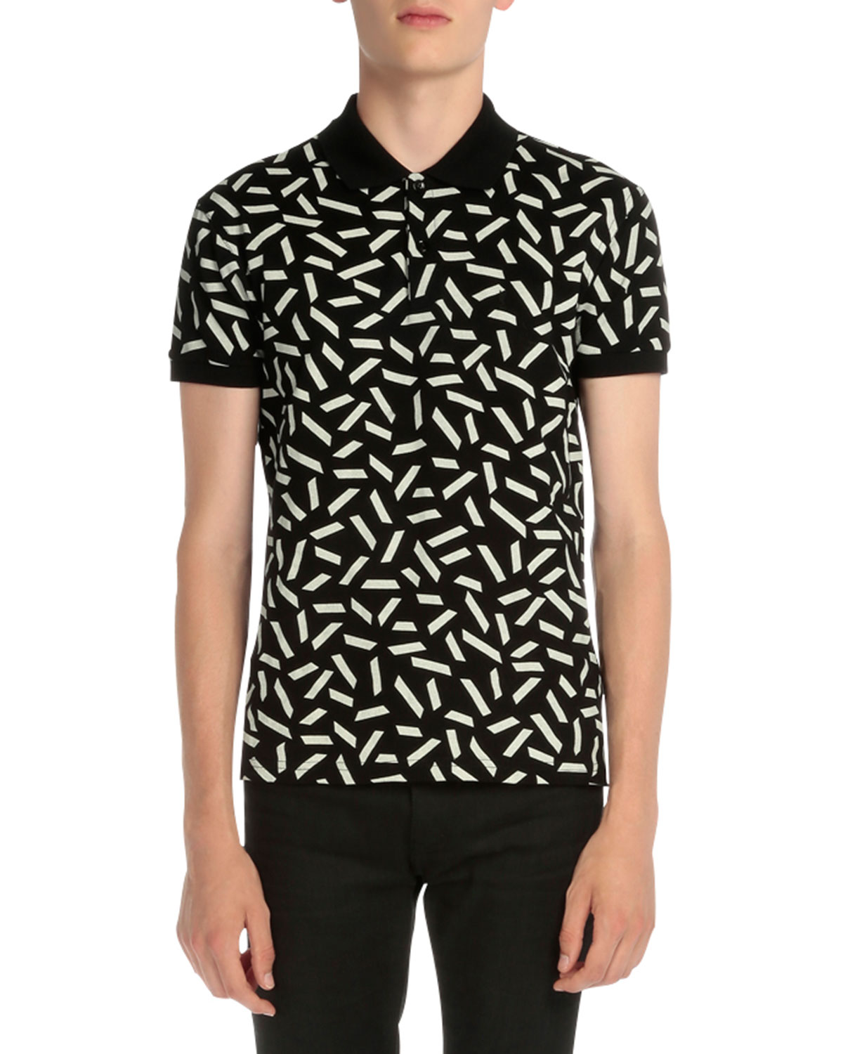 Dash-Print Short-Sleeve Polo Shirt, Black/White