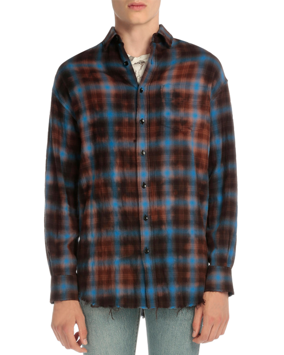 Plaid Flannel Button-Down Shirt, Blue/Red