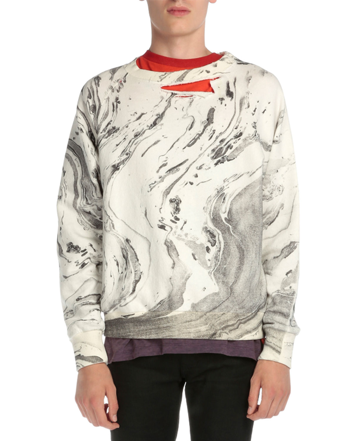 Ripped Tie-Dye Crewneck Sweatshirt, White