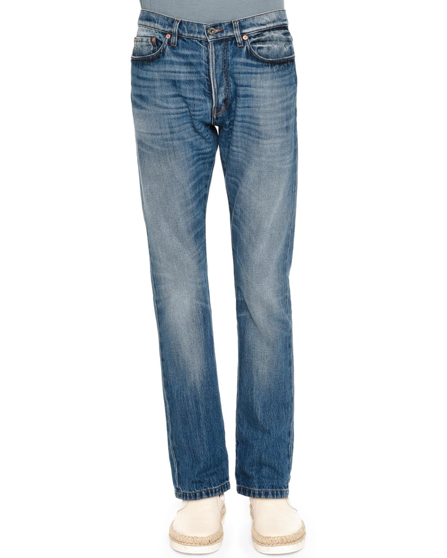 Slim-Fit Medium-Wash Denim Jeans, Blue