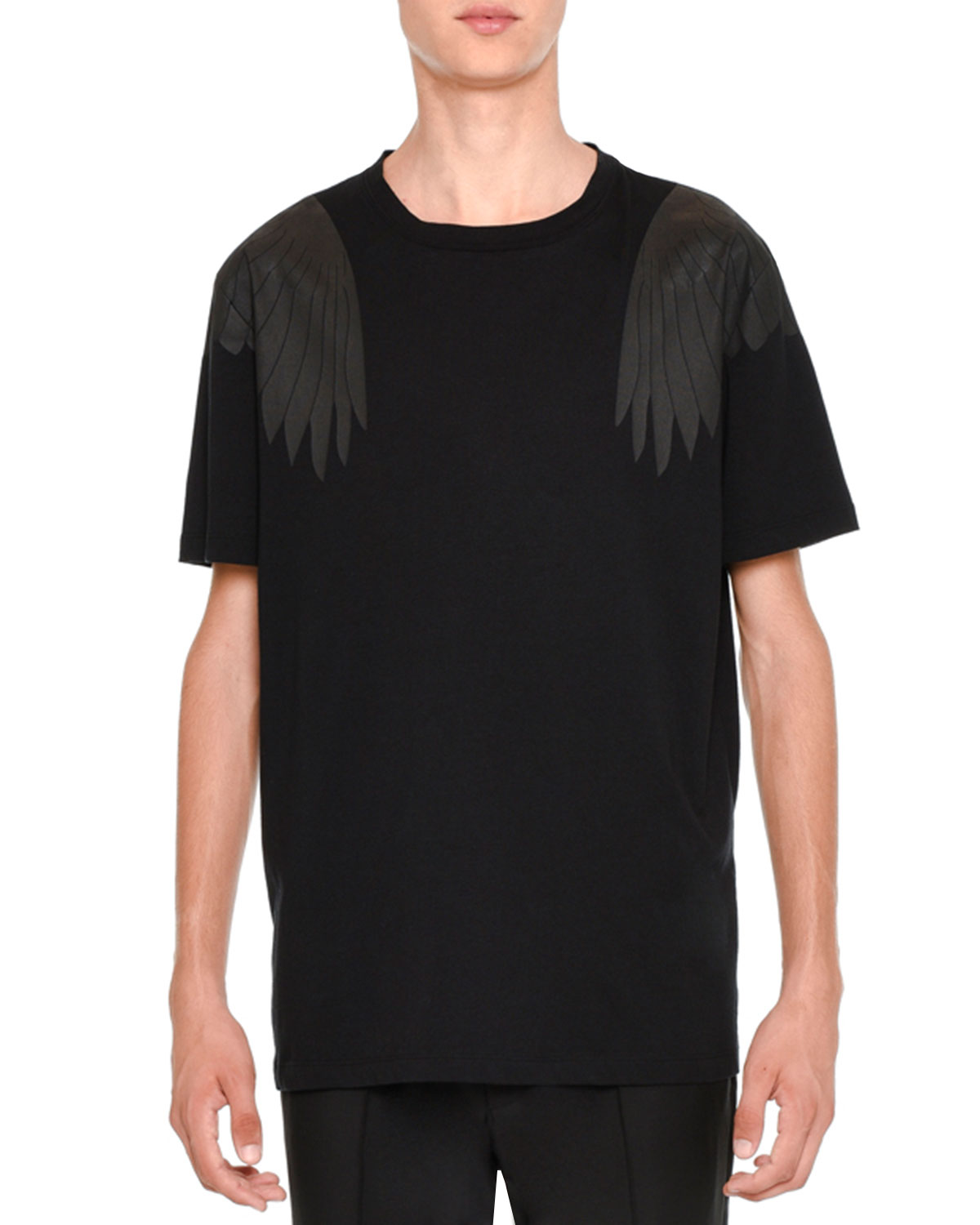Rockstud Tonal Eagle-Wings Short-Sleeve T-Shirt, Black