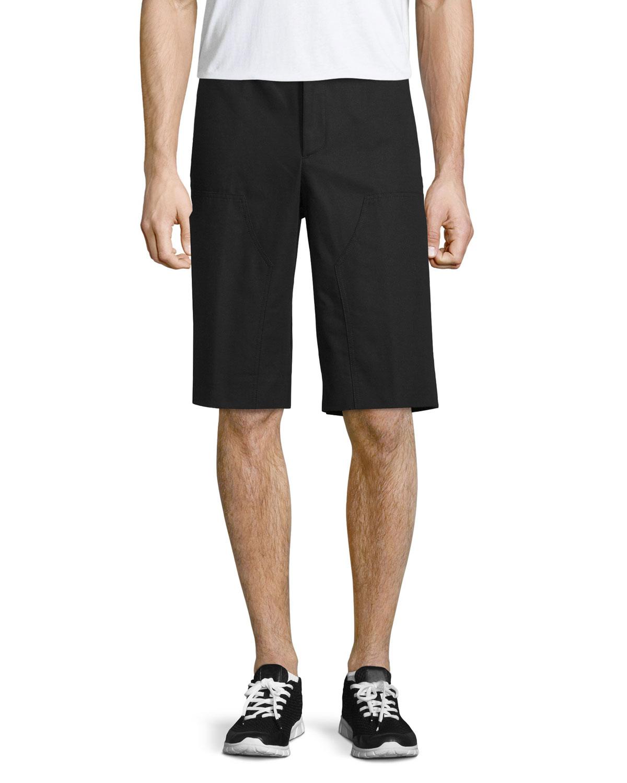 Workwear Flat-Front Shorts, Black