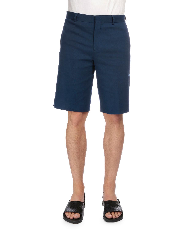 Flat-Front Trouser Shorts, Blue