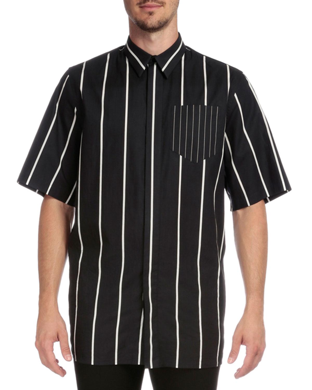Striped Button-Down Short-Sleeve Shirt, Black/White