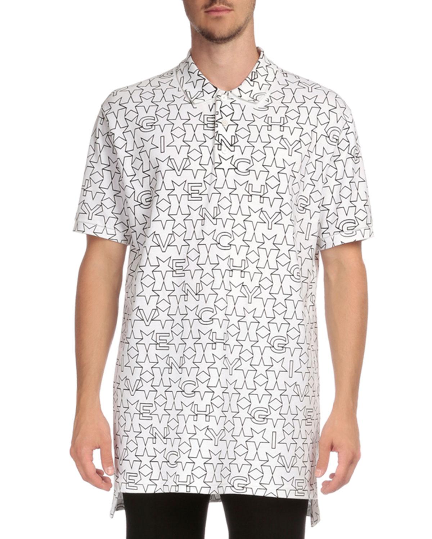 Colombian Star & Logo-Print Polo Shirt, White/Black