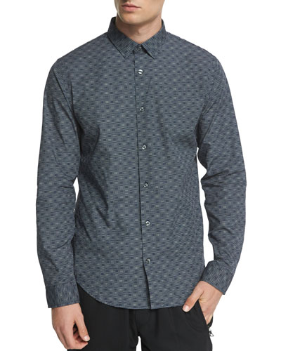 Melrose Printed Long-Sleeve Sport Shirt, Blue