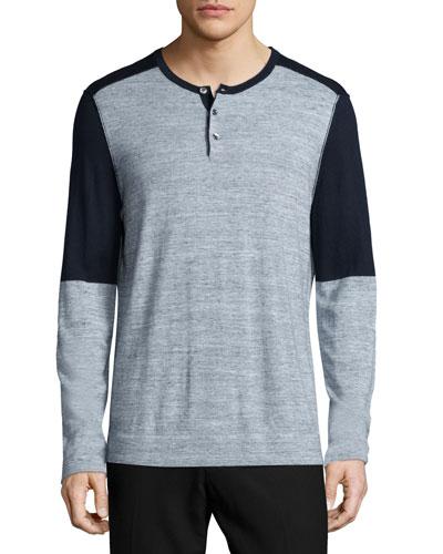 Colorblock Long-Sleeve Henley Shirt, Navy