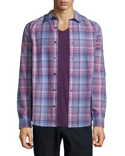 Plaid Long-Sleeve Shirt, Pink
