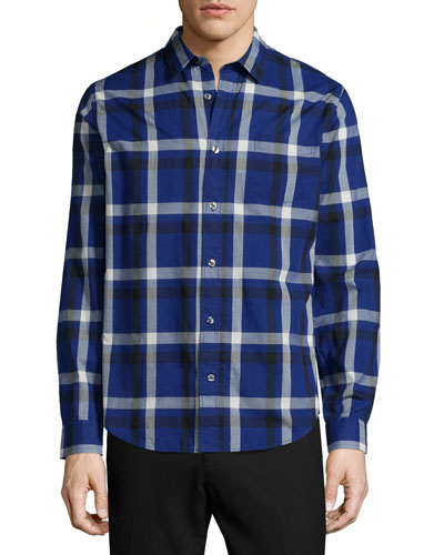 Melrose Plaid Long-Sleeve Sport Shirt, Blue