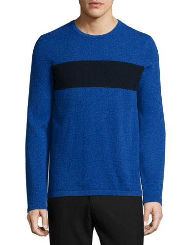 Cashmere-Blend Striped Crewneck Sweater, Blue