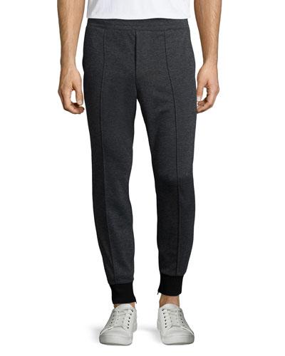 Interlock Knit Jogger Pants, Black