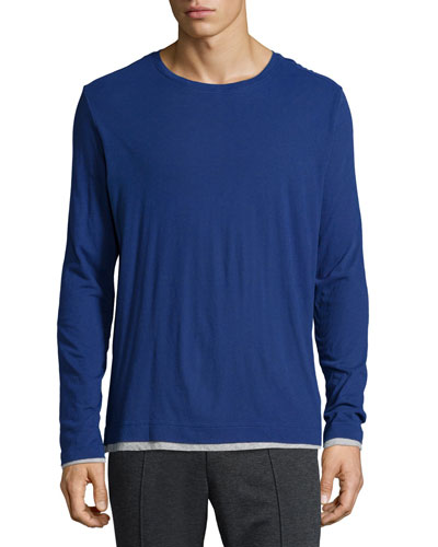 Double-Layer Crewneck T-Shirt, Blue