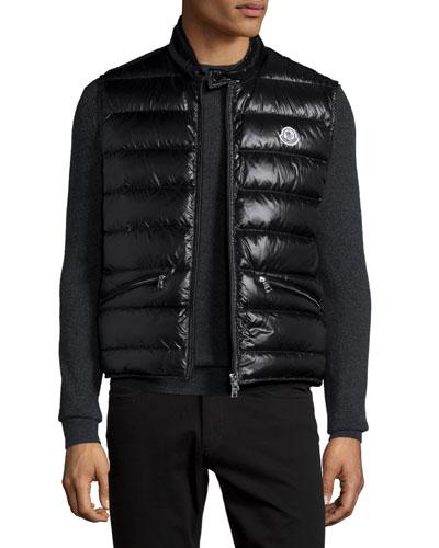 Lightweight Puffer Down Vest, Black