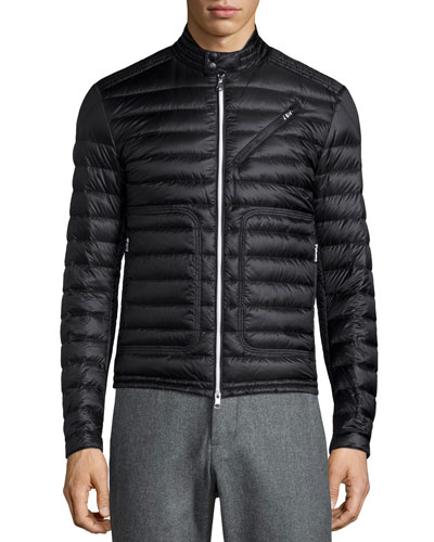 Picard Quilted Nylon Moto Jacket, Black