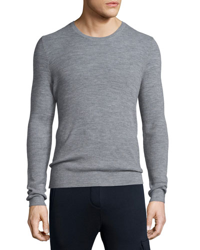 Thermal-Stitch Crewneck Sweater, Gray