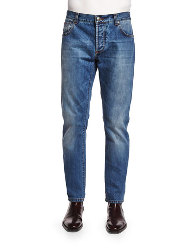 Five-Pocket Washed Denim Jeans, Blue