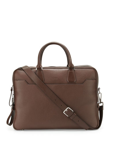 Double-Zip Leather Laptop Briefcase, Chocolate