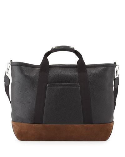 Men's Two-Tone Leather Weekender Bag, Black/Brown