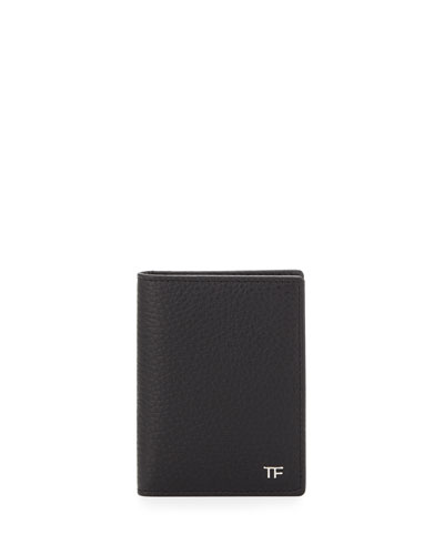 Folded Calfskin Credit Card Case, Black