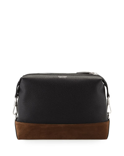 Two-Tone Leather Toiletry Bag, Black/Brown