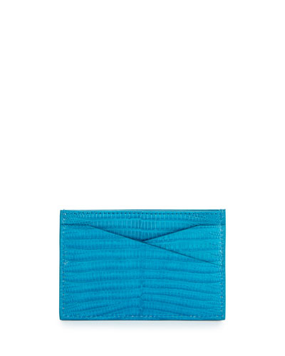 Lizard Leather Card Case, Turquoise