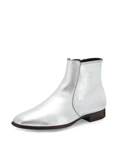Side-Zip Leather Chelsea Boot, Silver