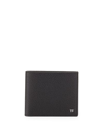 Men's Leather Bi-Fold Wallet, Black