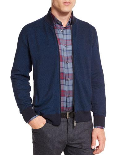 Birdseye Cashmere-Blend Full-Zip Jacket, Blue