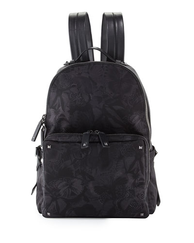 Camu Butterfly Printed Nylon Backpack, Black