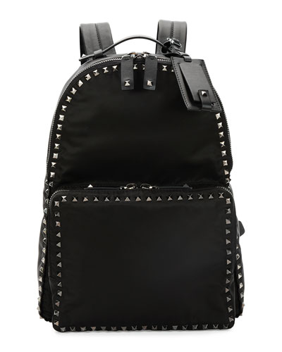 Rockstud Nylon Backpack, Black