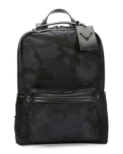 Tonal Camo-Print Nylon Backpack, Black