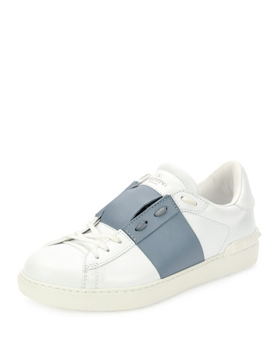 Leather Low-Top Sneaker with Stripe, White/Gray