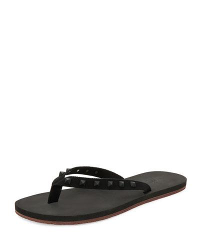 Rockstud Flip-Flop Sandal, Black