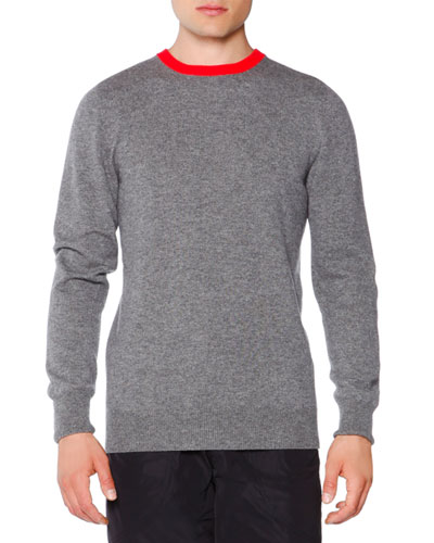 Contrast-Collar Cashmere Sweater, Dark Gray