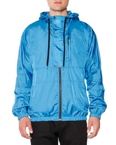 Nylon Hooded Zip-Up Jacket, Turquoise