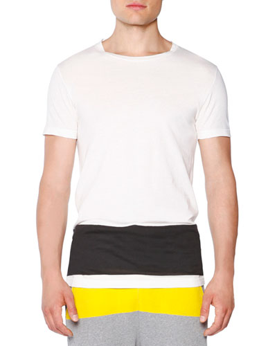 Short-Sleeve T-Shirt with Contrast Stripe, White