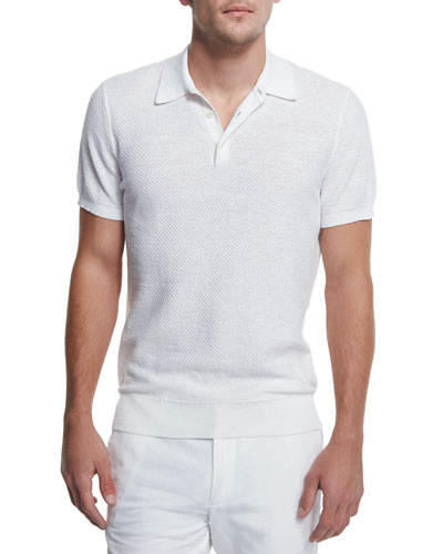 Textured Cotton/Linen Polo Shirt, White